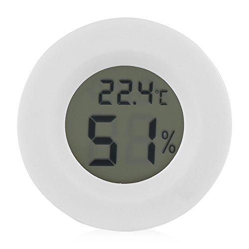 Monitor di temperatura e umidità per rettili LCD rotondo bianco termometro digitale in plastica igrometro per piccoli animali domestici lucertola ragno tartaruga terrario serbatoio
