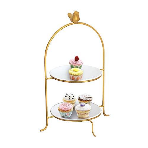 Z-COLOR Creativa Cupcake Stand nórdica pájaro de oro de la torta de cerámica Soporte doble placa de la fruta de comida rápida de maquillaje de almacenamiento del estante de exhibición de la torre Plac