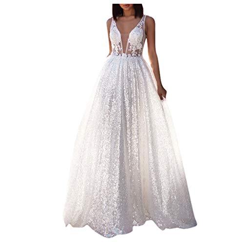 Briskorry Robe de mariée avec col en V profond - Blanc - Ligne A - Broderie en satin - Style simple - Dentelle - Longueur du sol - Robe de mariée attrayante, Blanc-30, XL