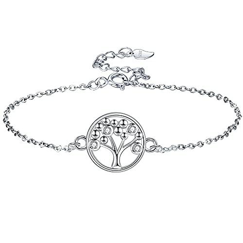 Lydreewam árbol de la Vida Pulsera para Mujer Plata de Ley 925 3A Circonita Cúbica con Caja de Regalo, Ajustable 16+3cm