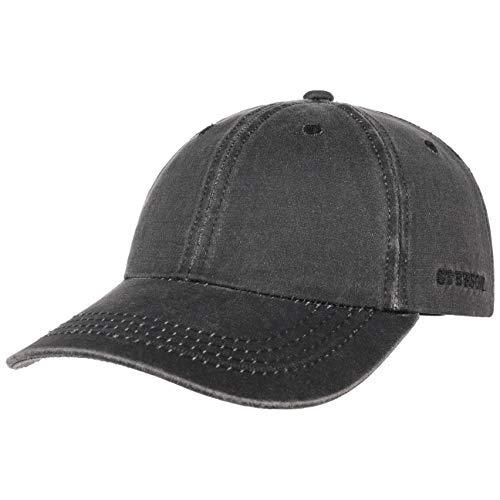 Stetson Statesboro Old Cotton Cap Herren - Baseballcap mit UV-Schutz 40+ - Mütze mit Baumwolle in Vintage Lederoptik - Basecap Frühjahr/Sommer schwarz S/M (54-57 cm)
