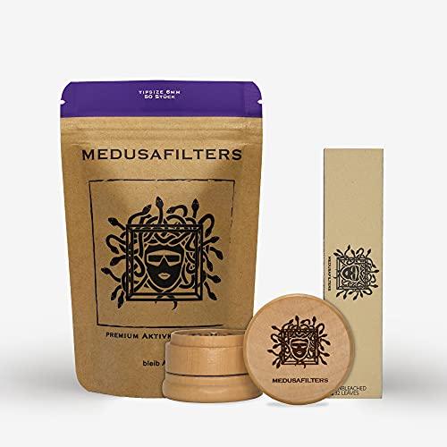 Medusafilters Starter Paket (50 Premium Aktivkohlefilter Ø 6mm + 32 Longpapers Unbleached + Grinder aus Holz)