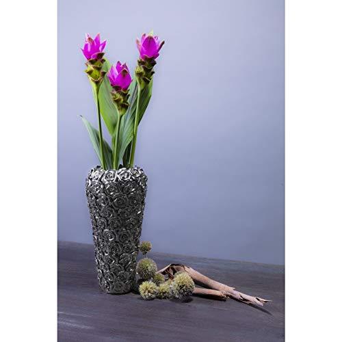 Kare Design Vase Rose Multi Chrom Small, kleine, dekorative Blumenvasen, hohe moderne Bodenvase, silber (H/B/T) 36,5x17,5x17,5cm