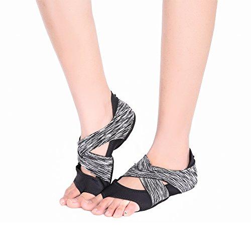 AiYoYo Anti-Rutsch Yoga Socken Yoga Schuhe 2 in 1 Zehensocken Schuhe aus Biologischer Baumwolle mit Offenen Zehen für Ballet,Yoga,Pilates,Tanz Sport(Schwarz L)