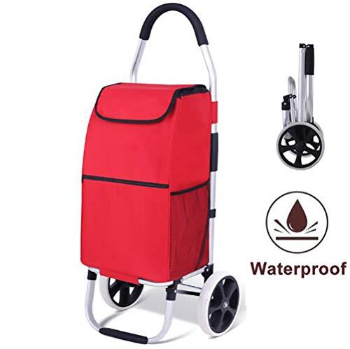 Einkaufstrolley - 45 Liter - Extra große Reifen - Mit Kühlfach - Abnehmbare & regenfeste Tasche - Aufhängung für den Einkaufswagen/Klappbarer Shopper/Einkaufsroller/Handwagen a/C