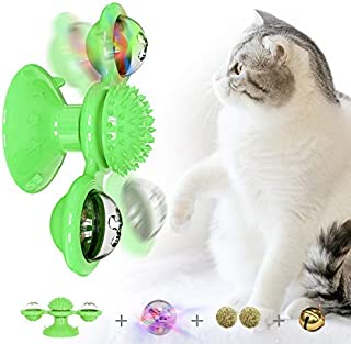 GZZX New Scratch Hair Brush Soft Silicone Washable Cat Interactive Turntable Cat Toy with Suction Grooming Shedding Massag...