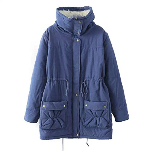 JIER Women Casual Autumn Winter Warm Comfortable Coat Casual Ladies Outwear Floral Print Hooded Pockets Coats (Royal Blue,3XL)