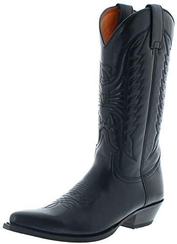 Sendra Boots Unisex Cowboy Stiefel 2073 PICO Lederstiefel Westernstiefel Schwarz 48 EU