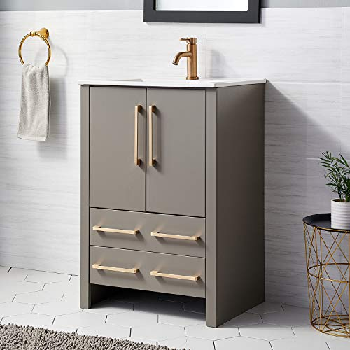 24 Inch Premium Grey Bathroom Vanity Sink Combo,Bath Vanity with Sink Modern Bathroom Vanity Cabinet with Ceramic Sink,Single Bathroom Vanity Set with 1 Shelf 2 Drawers