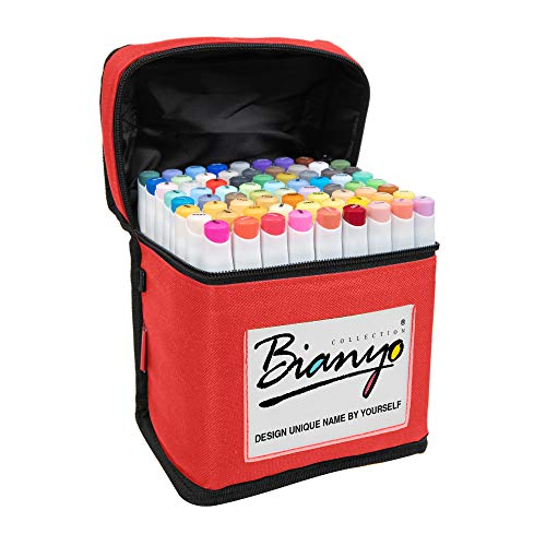 Bianyo Classic Series Alcohol-Based Dual Tip Art Markers(Set of 72, Red Travel Case with a Designable Card)