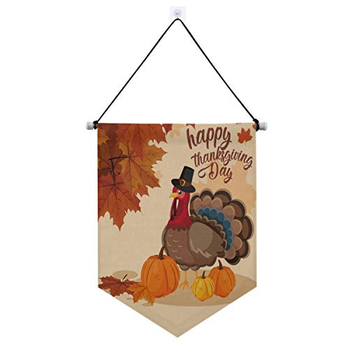 Thanksgiving Decorations Outdoor,Turkey with Pumpkins and Hat Pilgrim of Thanksgiving Day Hanging Welcome Signs for Front Door Porch or Indoor Home Wall Decor