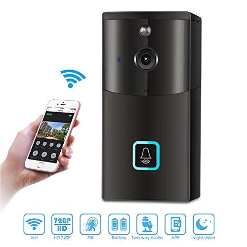 Drahtlose Türklingel, intelligente 720P HD WiFi-Überwachungskamera mit Zwei-Wege-Kommunikation, Nachtsicht, PIR-Bewegungserkennung, Selbstspeicherfunktion und App-Steuerung für iOS und Android