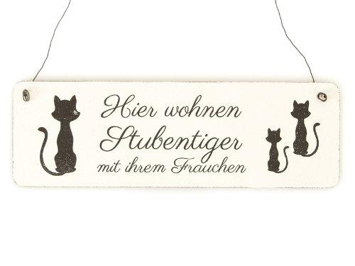 Interluxe Shabby Vintage Schild Türschild Hier WOHNEN STUBENTIGER mit IHREM Frauchen Katze Holzschild Geschenkidee Kater