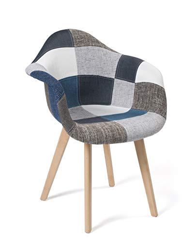 KAYELLES Lot de 2 chaises scandinaves Patchwork, Salle à Manger, Cuisine - NEDA (Patchwork Bleu)