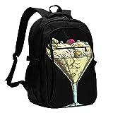 Sac à Dos d'affaires de Voyage de Grande capacité USB, Verres à Cocktail colorés avec des Boules de crème glacée fraîches Photo Sac d'ordinateur Portable de 17 Pouces