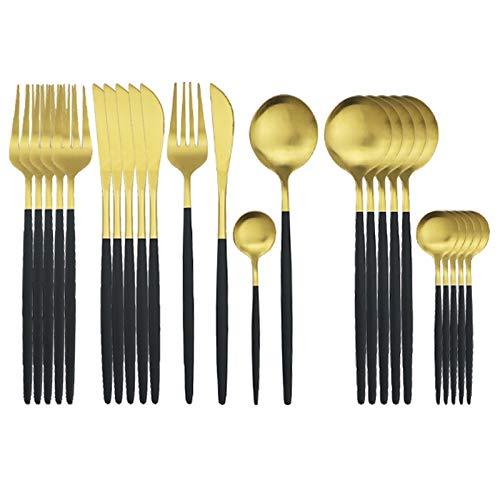 24 PCS Black Cubertery Set Matte Acero inoxidable Conjunto de vajillas CUCHILLO Tenedor Spoon Setwware Set Cocina Party Cena Cena Vajilla Set (Color : Black Gold)