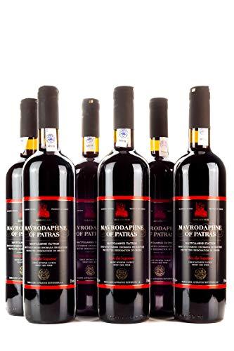 6x 750ml Mavrodaphne Loukatos Rotwein im Set 15% Vol. griechischer Süßwein Likörwein Dessertwein + 2x 10ml kretisches Olivenöl Sachet zum testen gratis