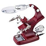 LED Tercera mano Lupa mecánica de precisión, lupa con luz y soporte para soldar, reparación, hobby y artesanía