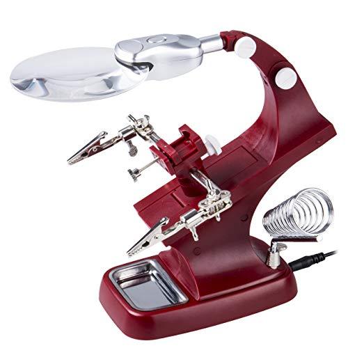 LED Dritte Hand Lupe Feinmechaniker, lupe mit licht und ständer Zum Löten, Reparatur, Hobby und Handwerk(rot)