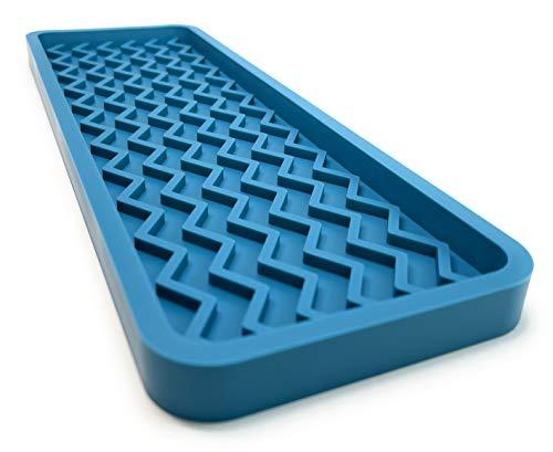Happitasa Silicone Kitchen Sink Organizer Tray and Sponge Holder   Zigzag Style (TEAL, 12