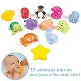 LUDI - 12 animaux marins en plastique pour jouer dans le bain. Dès 6 mois. Animaux arroseurs rigolos. Sac de rangement inclus....