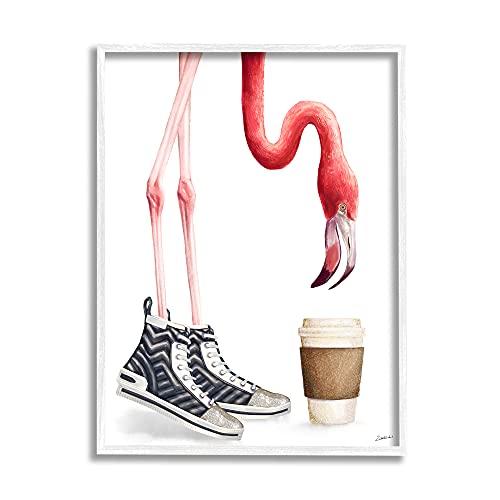 Stupell Industries Ziwei Li Fashion Quilted Shoe Glam Pink Flamingo Kaffeetasse, Design mit weißem Rahmen, Wandkunst, 40,6 x 50,8 cm