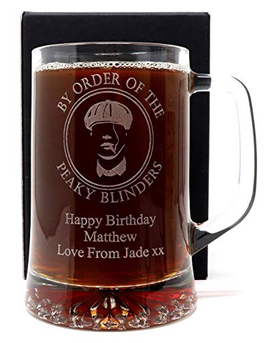 Engraved/Personalised *Peaky Blinders Design* Pint Glass Tankard Gift Boxed (Cardboard Gift Box)