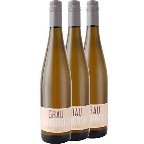 """Nehrbaß - """"Grauburgunder 2018"""" Weißwein trocken 3 x á 0,75 Liter - Qualitätswein - Vegan - Aus Deutschland (Rheinhessen) - mit Schraubverschluss"""