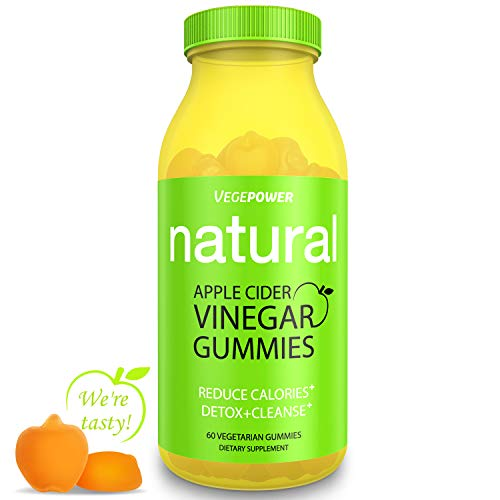 Apple Cider Vinegar Gummies with The Mother-VegePower 1000mg Vegan Vitamin Gummy for Immunity, Better Digestion/Energy-Support Detox, Cleanse, Metabolism&Bloating Relief-Alternative to ACV Capsules