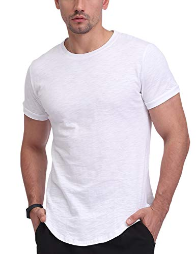 Fanient Herren T-Shirt Kurzarmshirt Oversize Longshirt Basic O-Neck Kurzarm Casual Top Rundhals T-Shirts