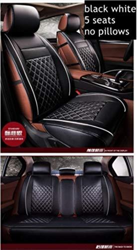 JYPZSH Funda De Asiento De Coche Universal para BMW E46 E90 E39 G30 E60 E36 F10 F30 E87 X5 E70 E53 E34 F20 E30 E92 E91 F11 E90 F31 X3 E83 E38 Serie 1-Negro Blanco Estándar