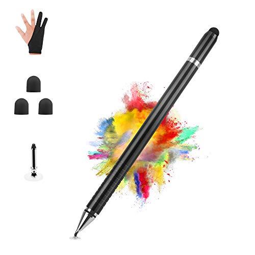 AUSKANG Stylus Pen, kapazitiver Touchscreen-Stift aus Aluminiumlegierung, 3-in-1-Schreibfeder mit hoher Empfindlichkeit, Zeichenfeder, integrierter Kugelschreiber und Zeichenhandschuhanzug