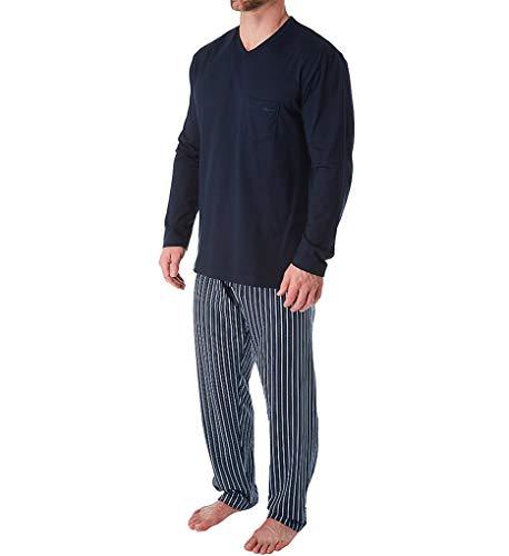 CALIDA Herren Relax Imprint Basic Pyjamaset Zweiteiliger Schlafanzug, Dark Sapphire, 58-60