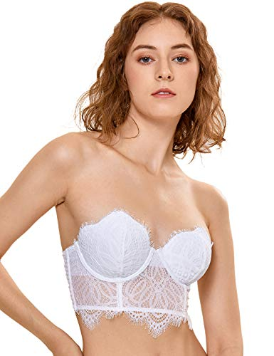 DOBREVA Women's Floral Lace Strapless Bra Lightly Lined Underwire Mini Bustier Longline White 36DD