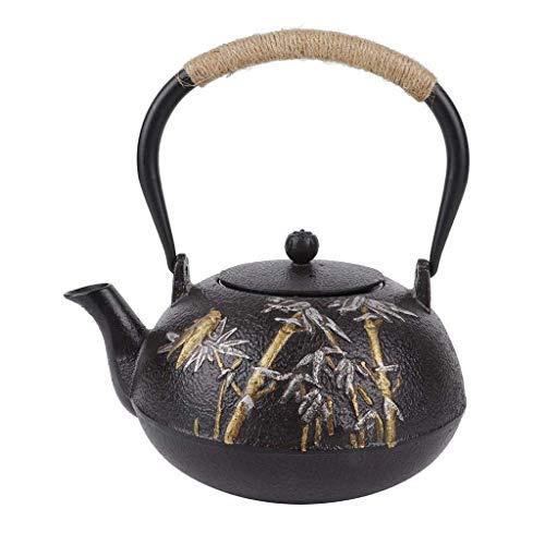 XFENG Tetera Japonesa, de Hierro Fundido del pote del té de bambú de la cigarra Hervidor Tetera Vasos Tetera de Hierro Juego de té, Moldeada de la Vendimia Tetera de Hierro, 1.2L