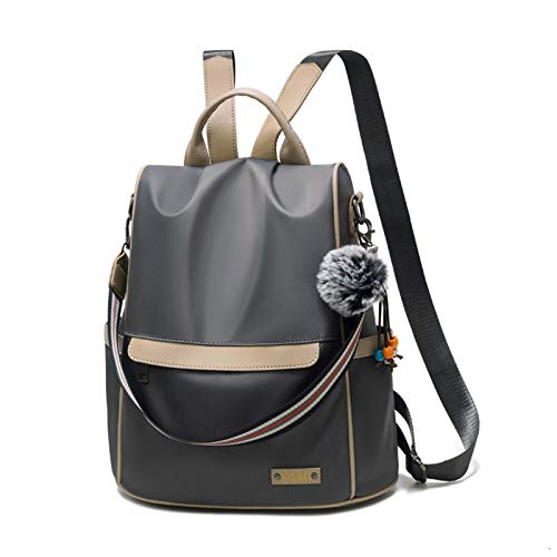 HLONGG Ladies theft backpack purse waterproof nylon backpack Women Shoulder Tote Bag Travel Bag,Gray