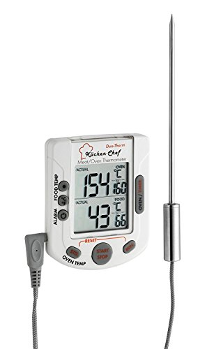 TFA Dostmann Digitales Bratenthermometer TFA 14.1503 Ofenthermometer (Weiss mit Clips für Temperaturfühler)
