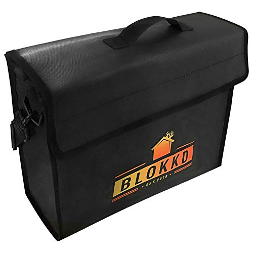 BLOKKD Fireproof Document Bags - Fireproof Safe Bag Fireproof Lock Box Bag Water Resistant Fire Proof Container Bag Home Safes Fireproof Safety Storage for Documents and Valuables - 13 x 16 x 5 inch