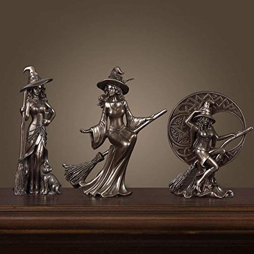 Witch Figurine Statue Ornaments Black Cat/Celtic Moon Sculptures Home Decoration Wedding Gift,Set,Home Decoration