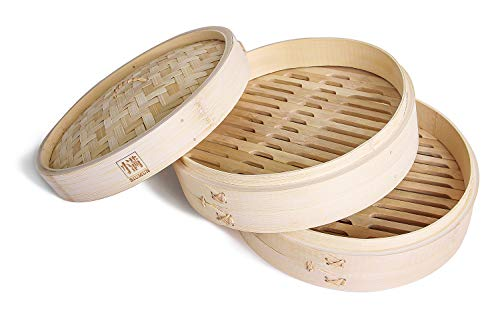 SIUMUN Natural Bamboo Steamer Set - 10' - Handmade Cookware, 2-Tier Basket Included 2 Pair of Chopsticks, 2 Cotton Liners & Sauce Dish