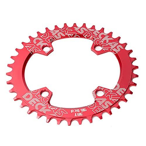 Bicicleta de Piñón Fijo Anillo de Cadena de Bicicletas Oval 32-38T 96BCD CAILING Single CANKING CHEIN RIND para la mayoría de Las Bicicletas Plato (Color : Red, Size : 38T)