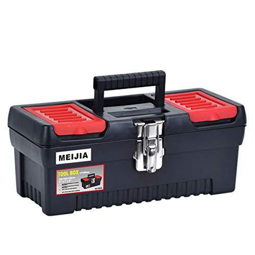 MEIJIA Caja de almacenamiento de herramientas portátil, organizadores con pestillos mentales y bandeja desmontable, negro y rojo,14  x 7 x 5.7