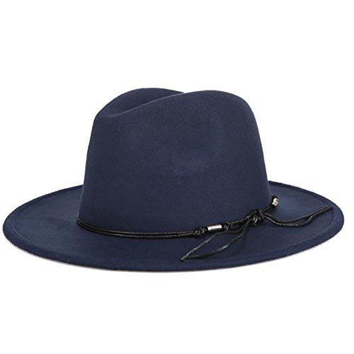 Demarkt Mode Herbst und Winter Damen Hut Jazz Hut Filzhut Fischerhut Winter Hut mit breiter Krempe Dunkelblau
