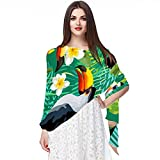 WJJSXKA Bufandas de gasa Chal Bufandas de abrigo para mujer para primavera verano, rama de hojas de flor de pájaro
