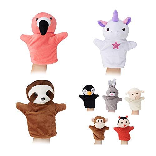 Relaxdays 10024372, bunt Handpuppen für Kinder, 8er Set Tiere, AFFE, Einhorn, Faultier, Flamingo, Handspielpuppen, weiches Plüsch