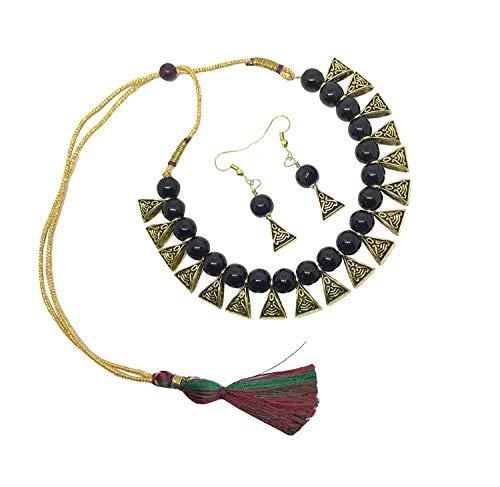 Efulgenz Boho Indian Oxidized Faux Pearl Beaded Vintage Tribal Statement Choker Necklace Earrings Jewellery Set