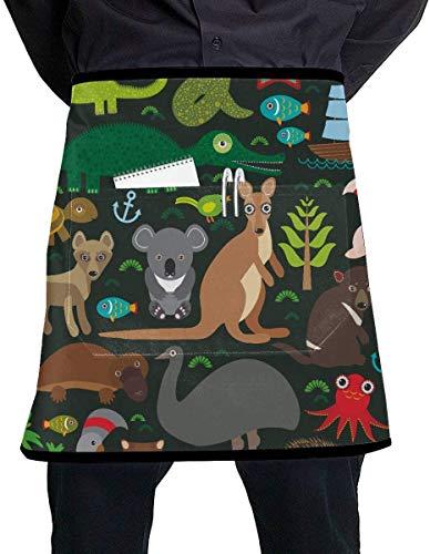 Ches Kitchen Chef Delantal de Animales Australia Echidna Platypus Avestruz Emu Girly Delantal de Cintura con Bolsillo Grande Unisex para Cocina, Manualidades y Dibujo de Barbacoa