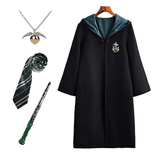 FStory&Winyee Harry Potter Kostüm Kinder Erwachsene Unisex Umhang Fasching Outfit Set Gryffindor Hufflepuff Ravenclaw Slytherin Fanartikel Gold/Silber Halskette Zauberstab