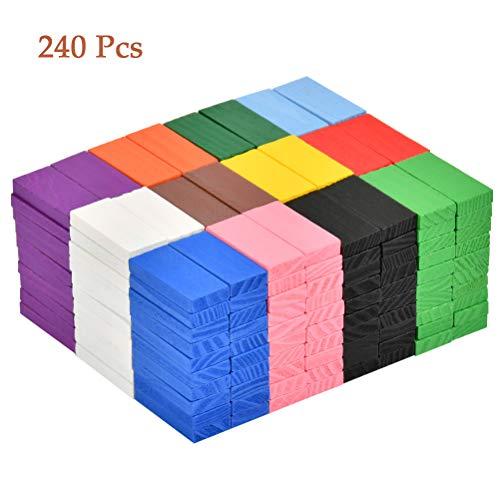 """""""N/A"""" 240 Stück Dominosteine, Domino Rallye Bausätze in 12 Farben, Bunte Domino aus Kiefernholz, Holzblöcke Lernspielzeug zum Basteln, Pädagogische Spielzeug für Kinder"""