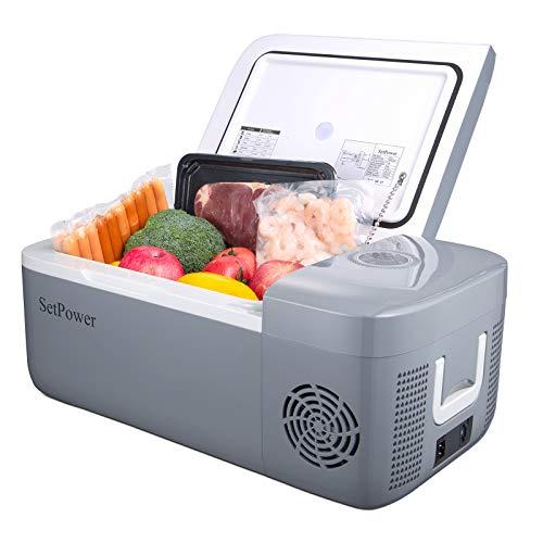 SetPower FC12 13.5 Quarts Portable Freezer Fridge 12V Cooler, 0℉-50℉, DC 12/24V, Car Fridge Compact Refrigerator, for Truck, Van, RV Road Trip, Outdoor, Camping, Picnic, BBQ